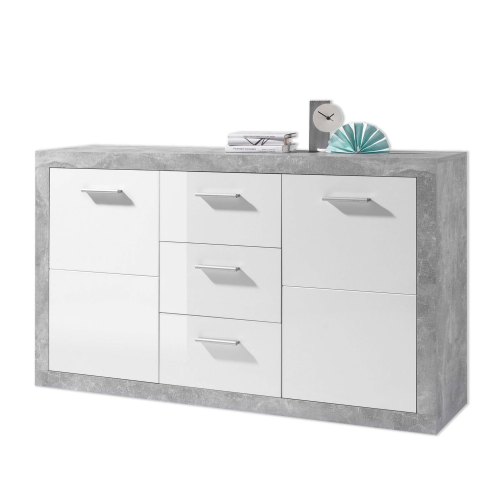 Pietra Large Sideboard Grey and White Gloss 2 DOOR, 3 DRW - 2697